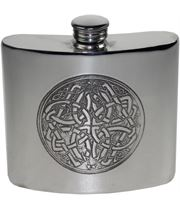 "6oz Celtic Circle Embossed Sheffield Pewter Hip Flask 10cm (4"")"