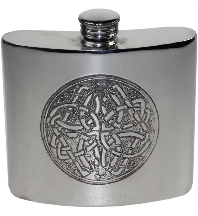 "6oz Celtic Circle Embossed Sheffield Pewter Hip Flask 10cm (4"")"
