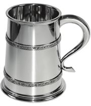 "Double Celtic Band 2pt Sheffield Pewter Tankard 16.5cm (6.5"")"