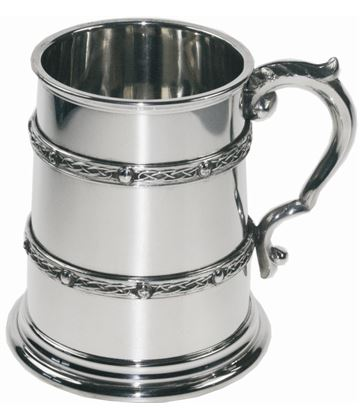 "Double Celtic Band 1/2pt Sheffield Pewter Tankard 9.5cm (3.75"")"