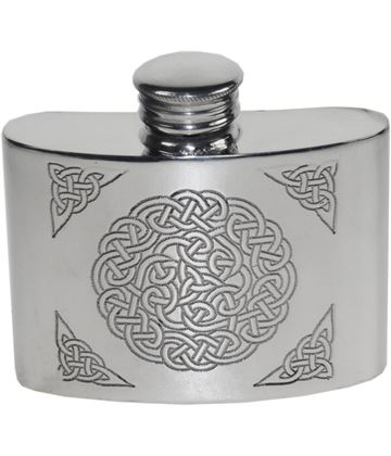 "2oz Celtic Knot Embossed Sheffield Pewter Pocket Flask 7cm (2.75"")"
