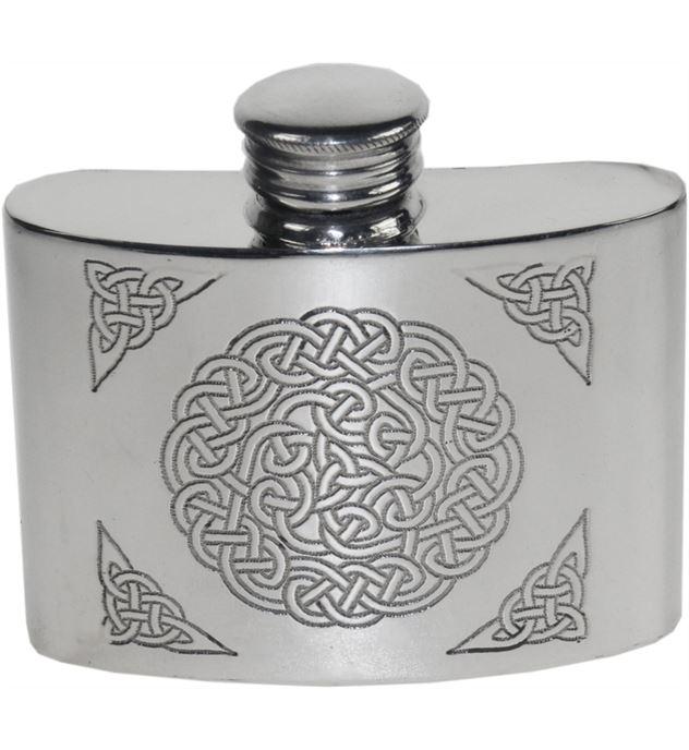"""2oz Celtic Knot Embossed Sheffield Pewter Pocket Flask 7cm (2.75"""")"""