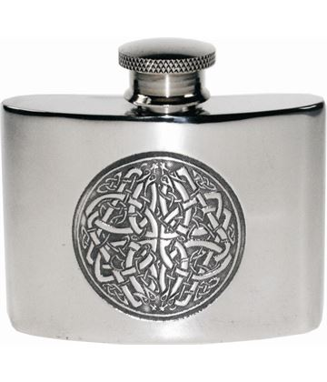 "2oz Celtic Circle Embossed Sheffield Pewter Pocket Flask 7cm (2.75"")"