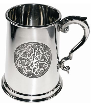 "1pt Embossed Celtic Circle Sheffield Pewter Tankard 12.5cm (5"")"
