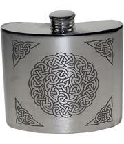 """6oz Celtic Knot Embossed Sheffield Pewter Hip Flask 10cm (4"""")"""