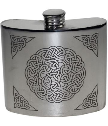 "6oz Celtic Knot Embossed Sheffield Pewter Hip Flask 10cm (4"")"