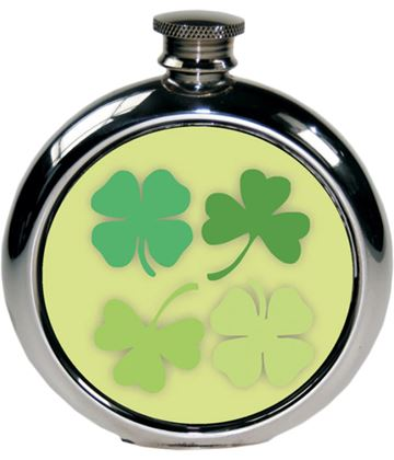 "Round 6oz Shamrock Picture Sheffield Pewter Hip Flask 11.5cm (4.5"")"