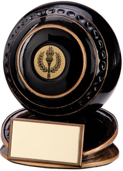 """Black & Gold Resin Protege Lawn Bowls Trophy 11cm (4.25"""")"""