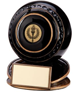 "Black & Gold Resin Protege Lawn Bowls Trophy 11cm (4.25"")"