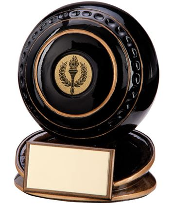 "Black & Gold Resin Protege Lawn Bowls Trophy 9cm (3.5"")"