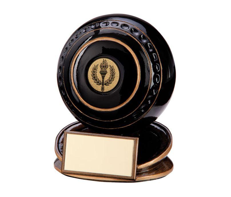 """Black & Gold Resin Protege Lawn Bowls Trophy 9cm (3.5"""")"""