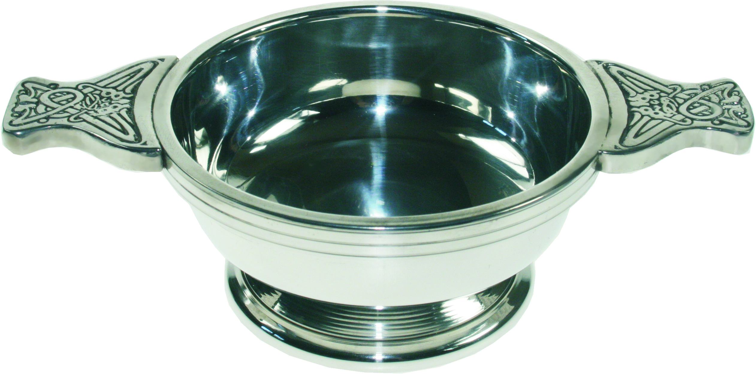"Pewter Quaich Bowl with Celtic Patterned Handle 9cm (3.5"")"
