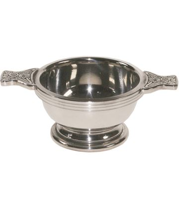 "Pewter Quaich Bowl with Celtic Patterned Handle 5cm (2"")"