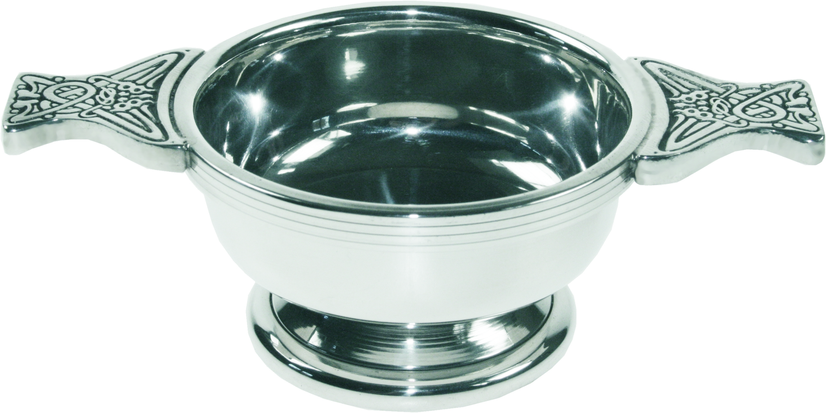 "Pewter Quaich Bowl with Celtic Patterned Handle 7cm (2.75"")"