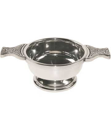"Pewter Quaich Bowl with Celtic Patterned Handle 7cm (2.75"")"