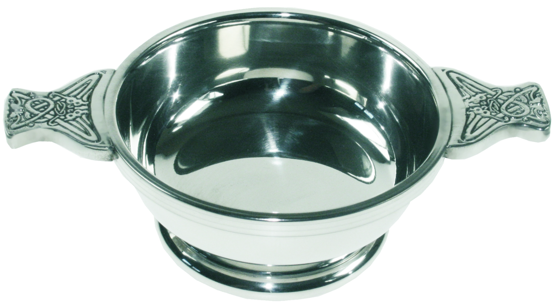 "Pewter Quaich Bowl with Celtic Patterned Handle 10cm (4"")"