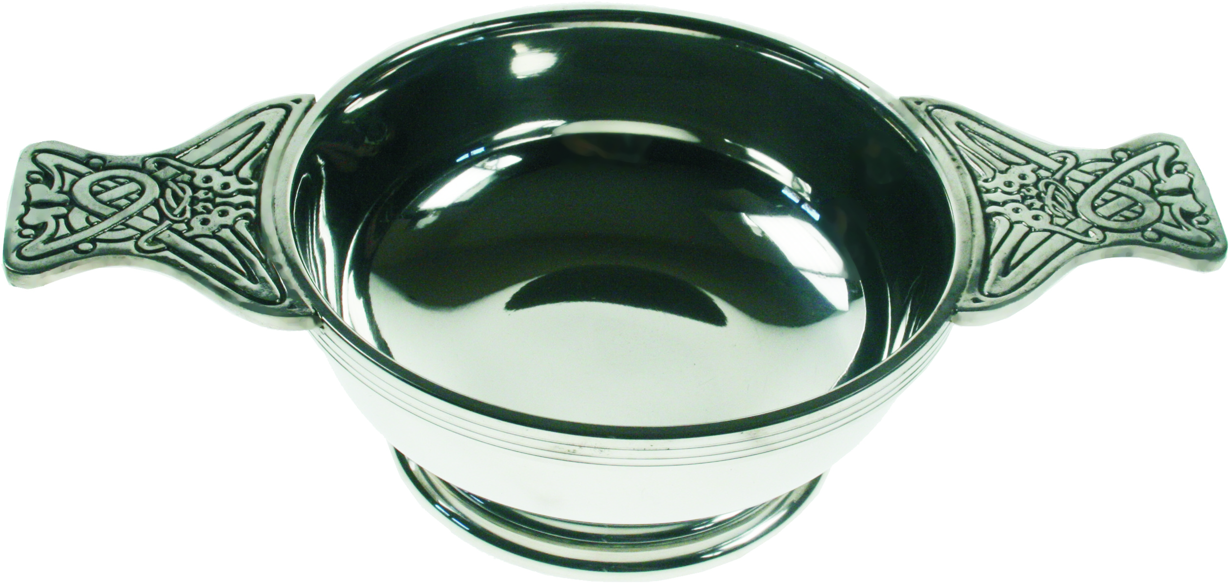 "Pewter Quaich Bowl with Celtic Patterned Handle 14cm (5.5"")"