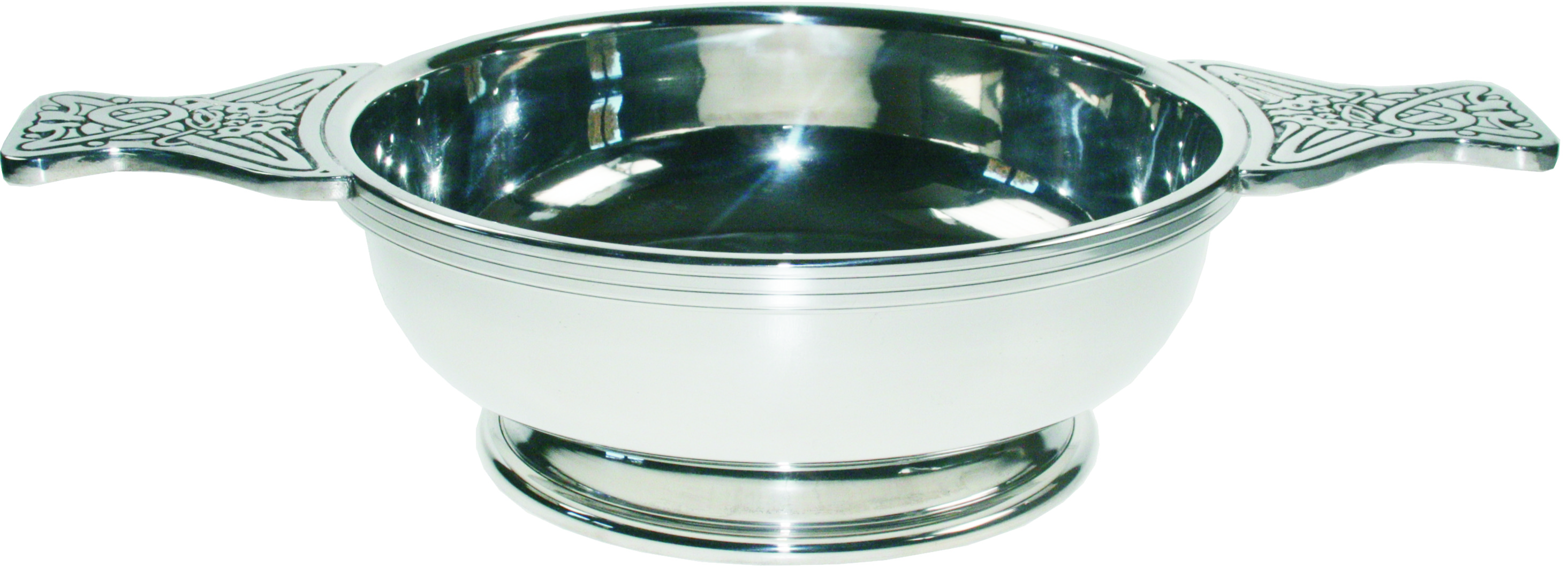 "Pewter Quaich Bowl with Celtic Patterned Handle 17cm (6.75"")"