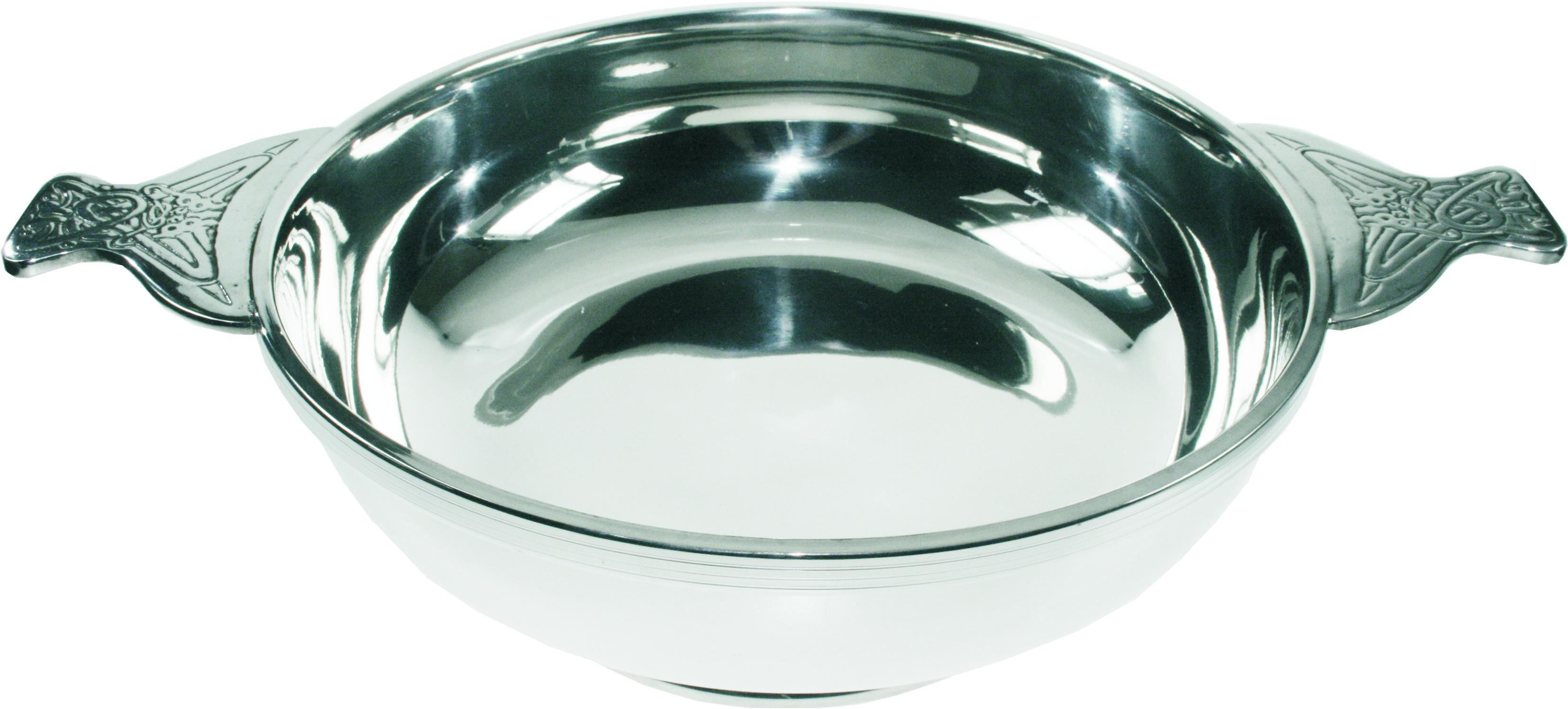 Pewter Quaich Bowl with Celtic Patterned Handle 25cm (9.75)