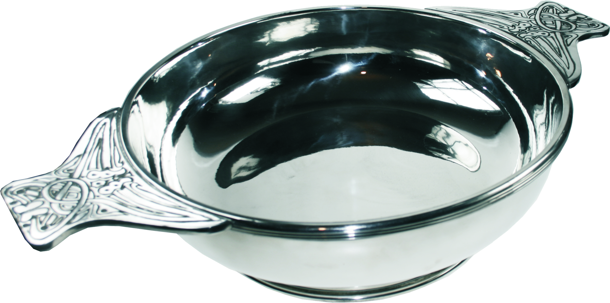"Pewter Quaich Bowl with Celtic Patterned Handle 35cm (13.75"")"
