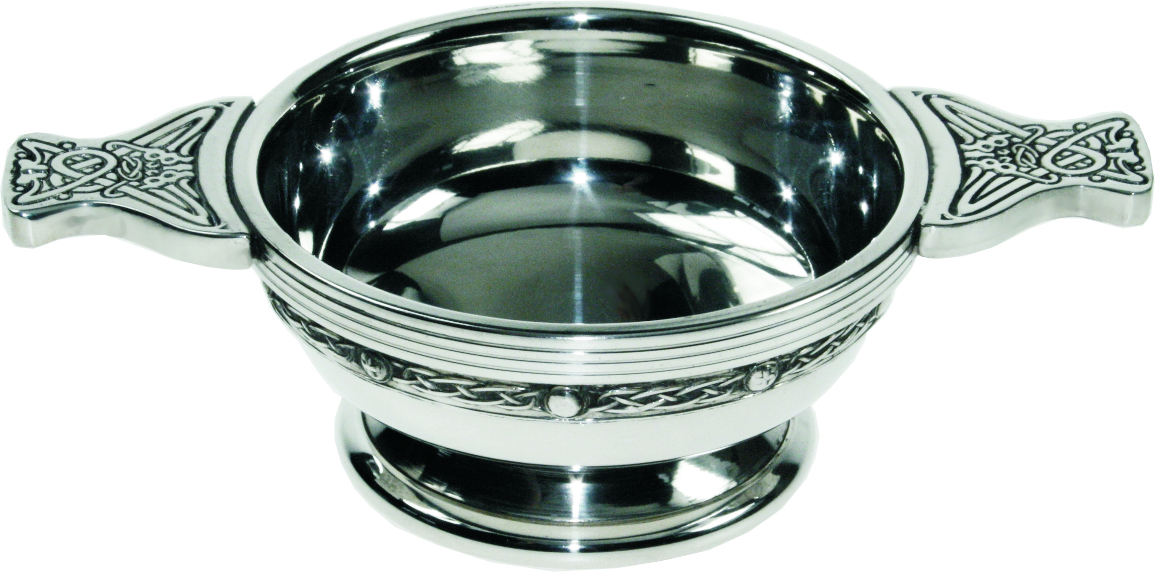 "Pewter Quaich Bowl with Celtic Band and Patterned Handle 9cm (3.5"")"