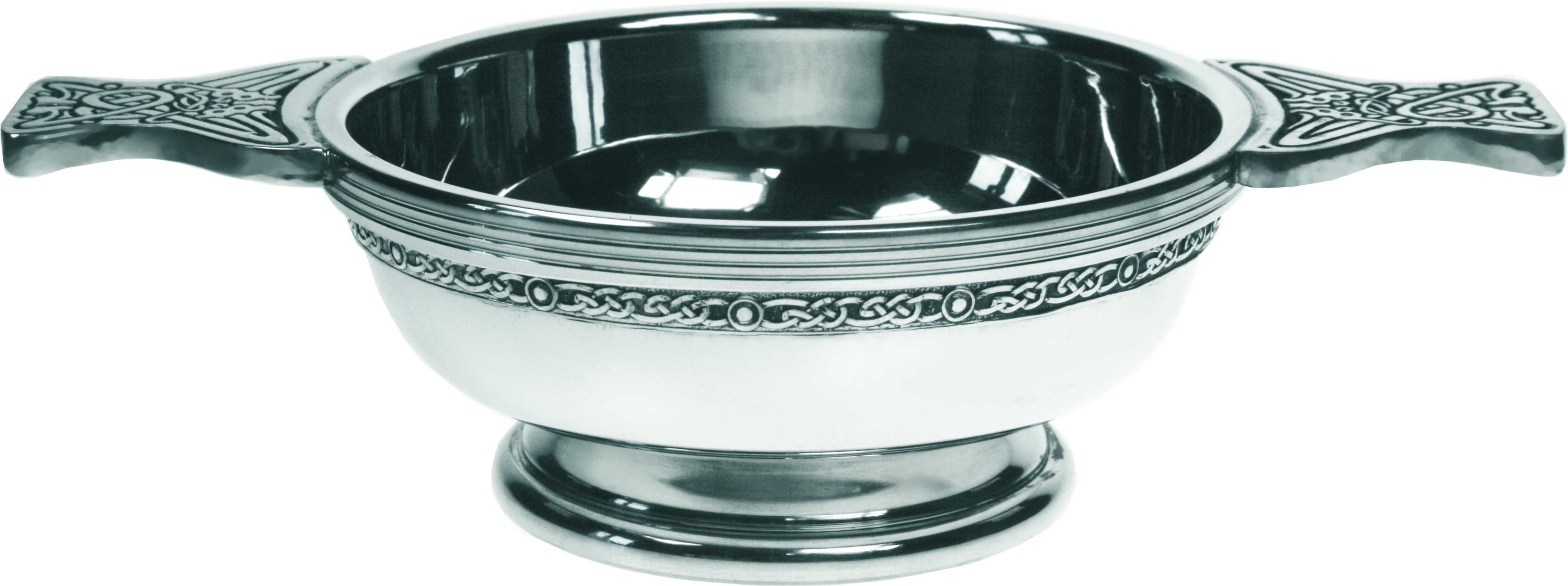 "Pewter Quaich Bowl with Celtic Band and Patterned Handle 11.5cm (4.5"")"
