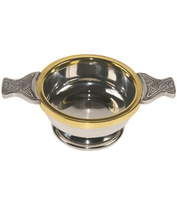 "Pewter Quaich Bowl with Brass Rim and Celtic Patterned Handle 9cm (3.5"")"