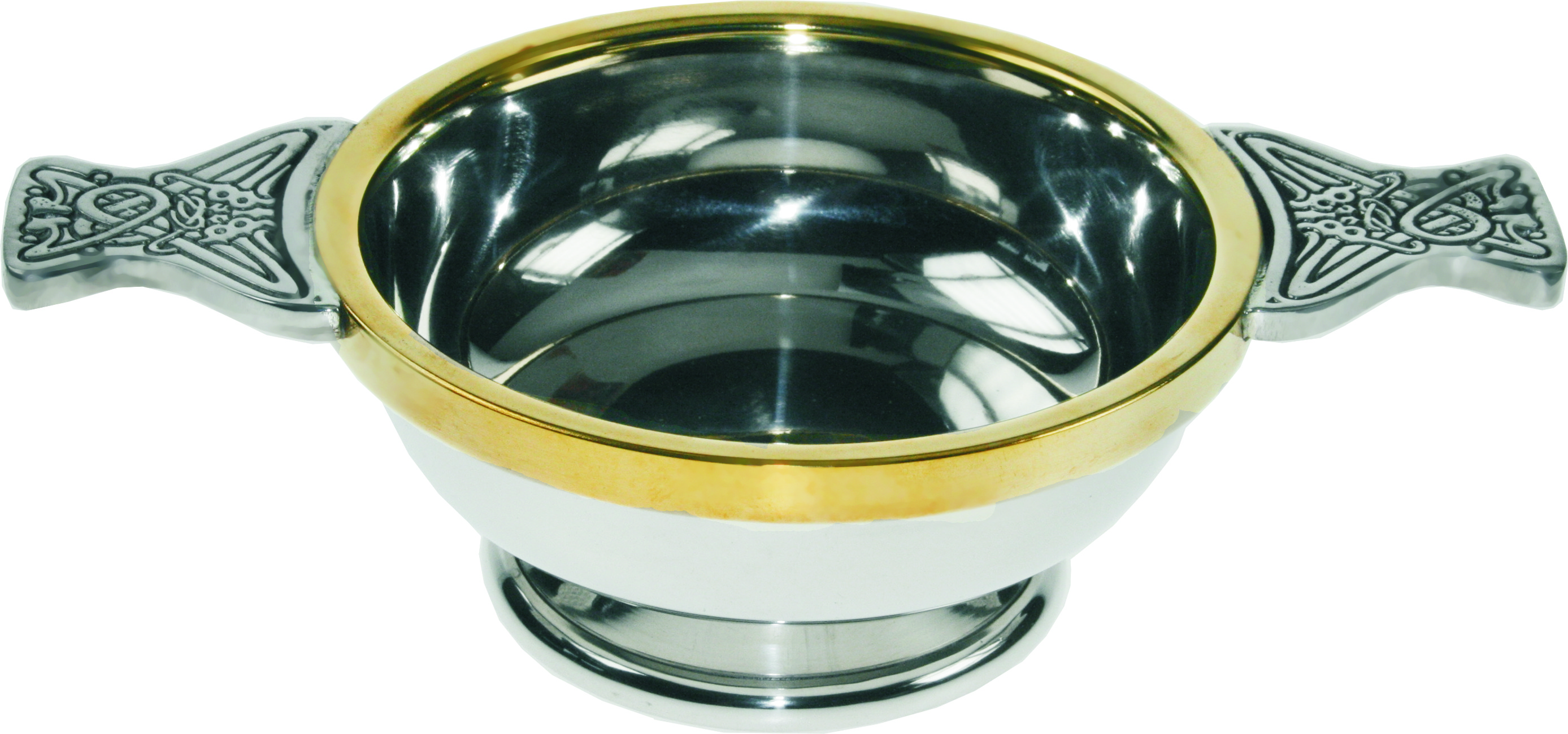 "Pewter Quaich Bowl with Brass Rim and Celtic Patterned Handle 10cm (4"")"