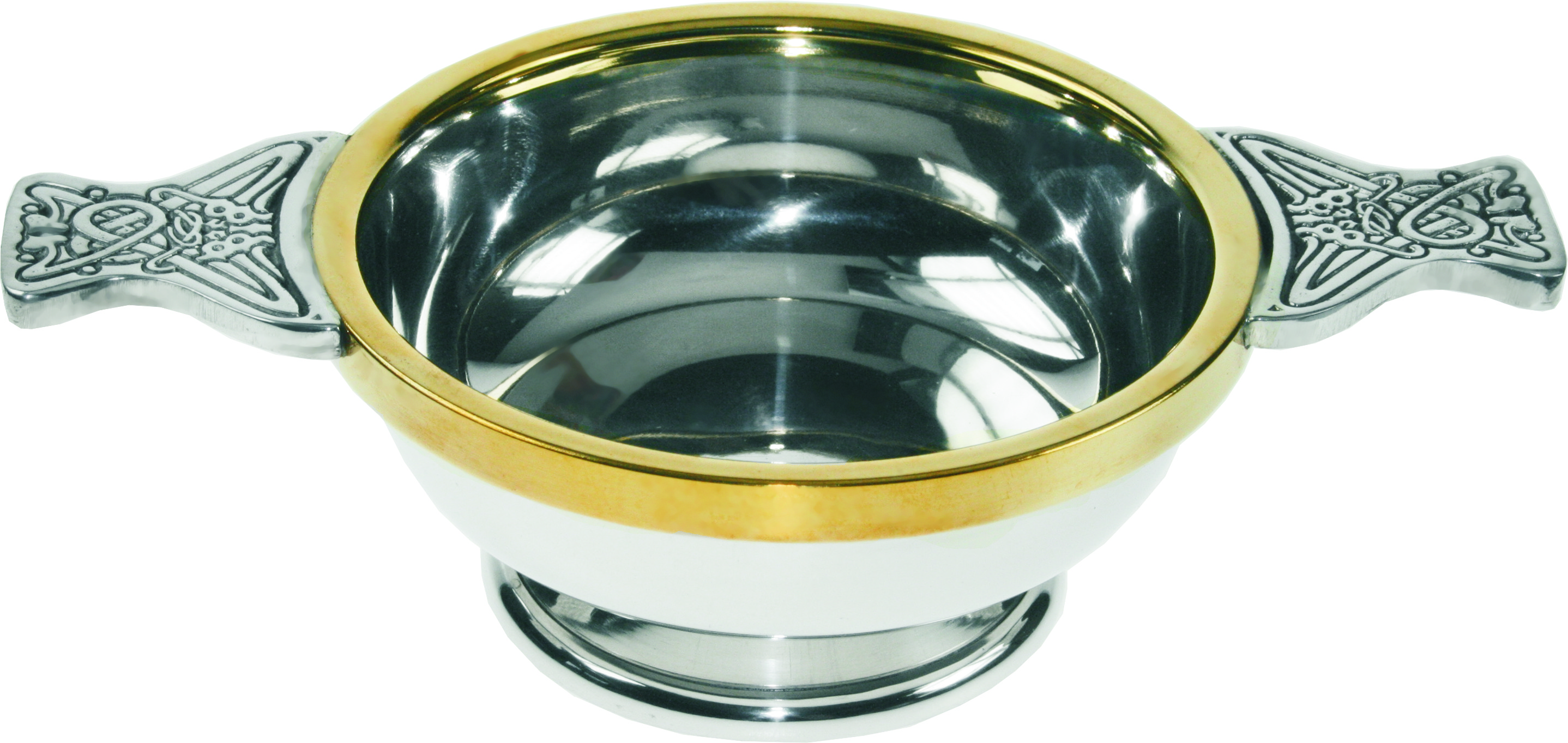 "Pewter Quaich Bowl with Brass Rim and Celtic Patterned Handle 11.5cm (4.5"")"