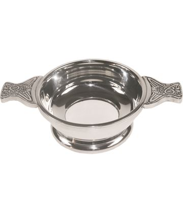 "Pewter Quaich Bowl with Glass Base and Celtic Patterned Handle 9cm (3.5"")"