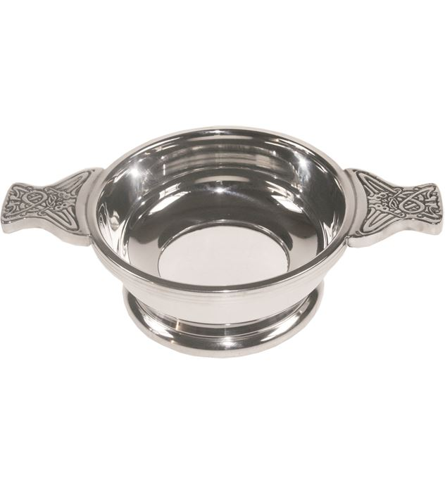 """Pewter Quaich Bowl with Glass Base and Celtic Patterned Handle 9cm (3.5"""")"""