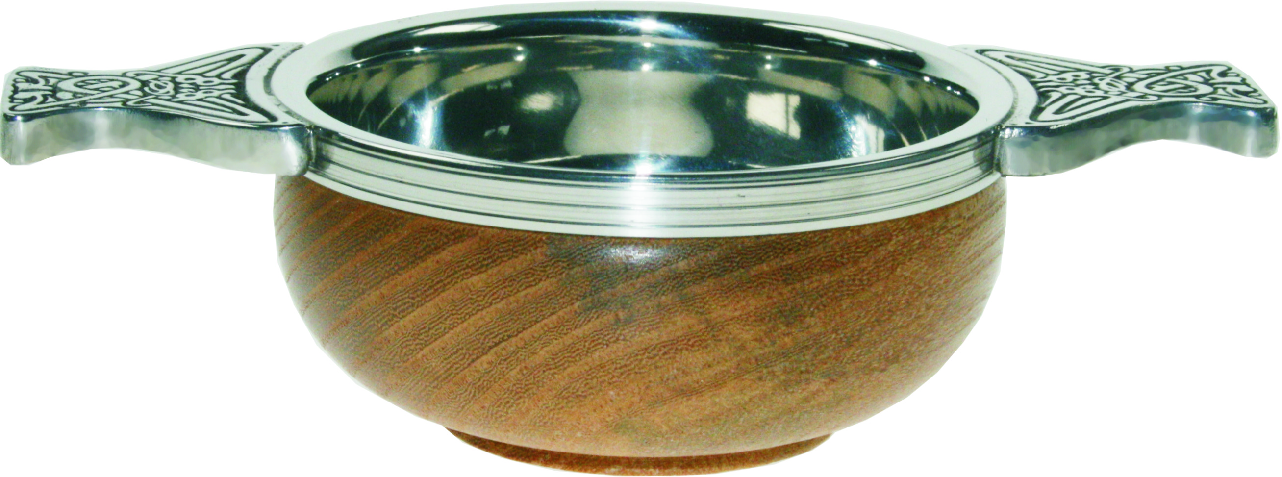 "Pewter and Wooden Base Quaich Bowl 9cm (3.5"")"