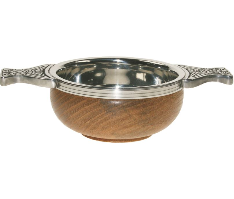 """Pewter and Wooden Base Quaich Bowl 9cm (3.5"""")"""