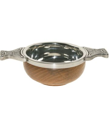 "Pewter and Wooden Base Quaich Bowl 7cm (2.75"")"