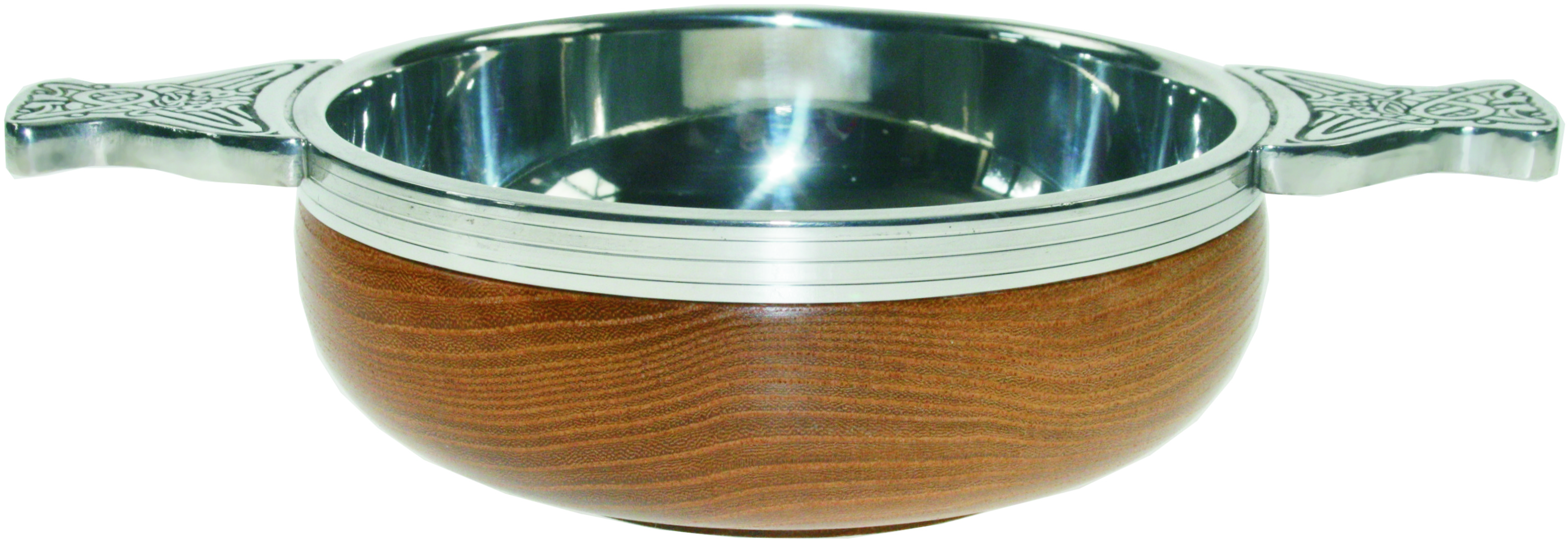 "Pewter and Wooden Base Quaich Bowl 10cm (4"")"