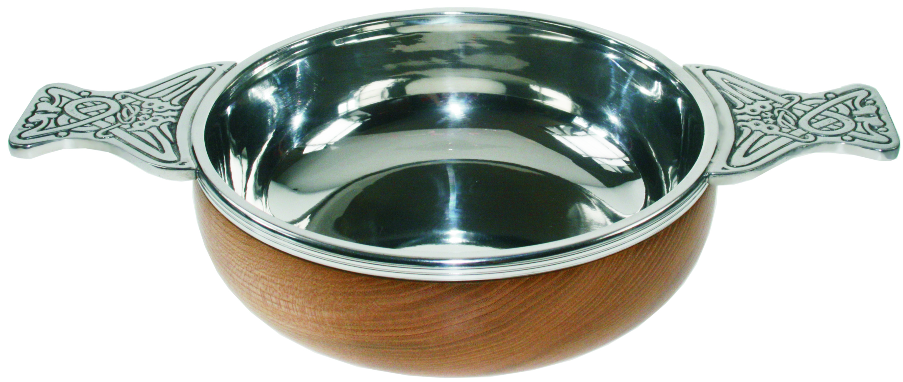 "Pewter and Wooden Base Quaich Bowl 17cm (6.75"")"