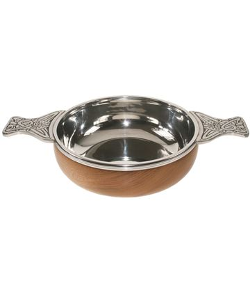 "Pewter and Wooden Base Quaich Bowl 11.5cm (4.5"")"