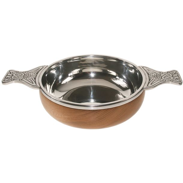 """Pewter and Wooden Base Quaich Bowl 11.5cm (4.5"""")"""