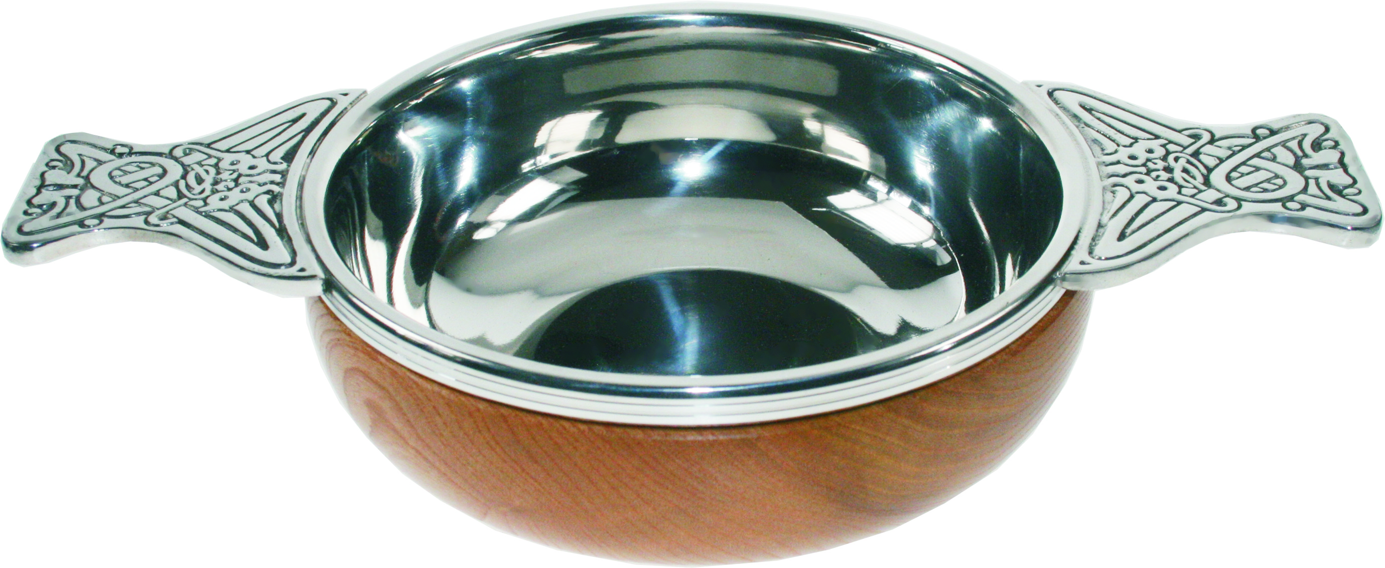 "Pewter and Wooden Base Quaich Bowl 14cm (5.5"")"