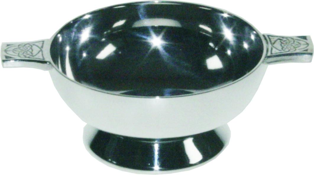 "Spun Silver Plated Quaich Bowl with Celtic Detailed Handles 5cm (2"")"