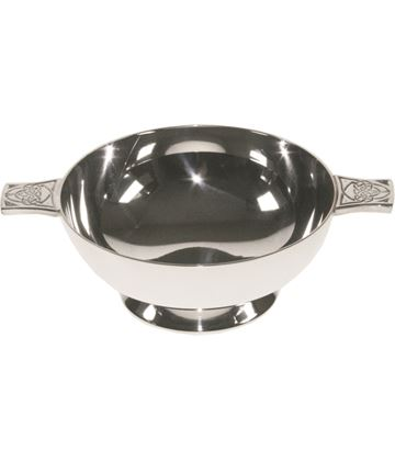 "Spun Silver Plated Quaich Bowl with Celtic Detailed Handles 8cm (3"")"