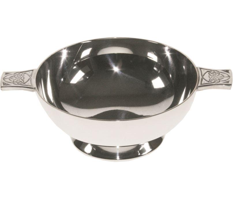 "Spun Silver Plated Quaich Bowl with Celtic Detailed Handles 8cm (3"")"