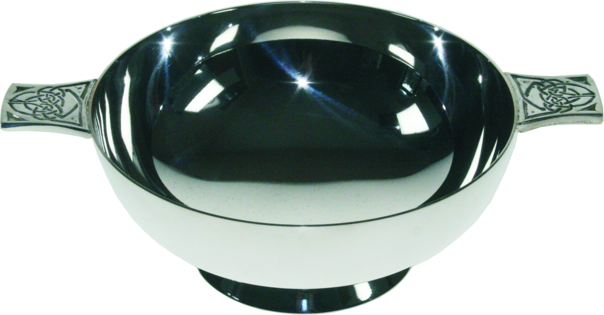 "Spun Silver Plated Quaich Bowl Celtic Detailed Handles 10.5cm (4"")"