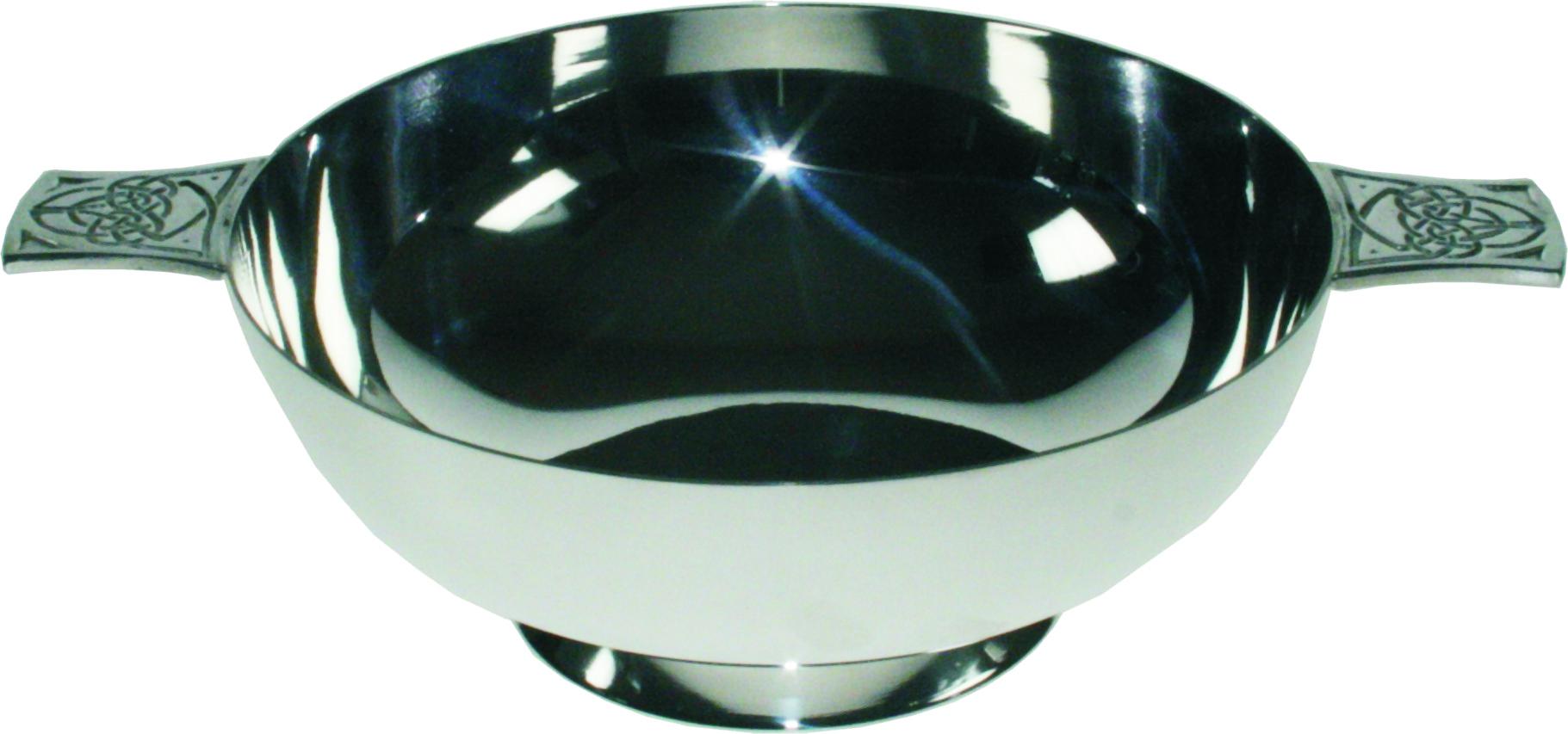 "Spun Silver Plated Quaich Bowl Celtic Detailed Handles 15.5cm (6"")"