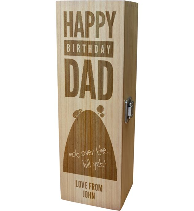"Personalised Wooden Wine Box with Hinged Lid - Happy Birthday Dad 35cm (13.75"")"