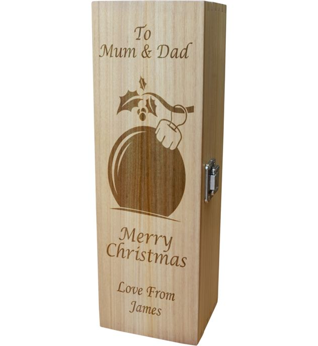 "Personalised Wooden Wine Box with Hinged Lid - Merry Christmas Bauble 35cm (13.75"")"