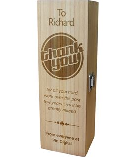 "Personalised Wooden Wine Box with Hinged Lid - Thank You 35cm (13.75"")"
