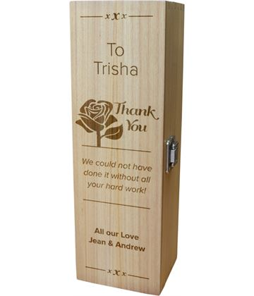 "Personalised Wooden Wine Box with Hinged Lid - Thank You Rose 35cm (13.75"")"