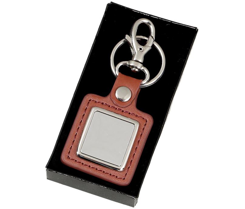 "Silver and Brown Crown Leather Keyring 3cm (1.1"")"