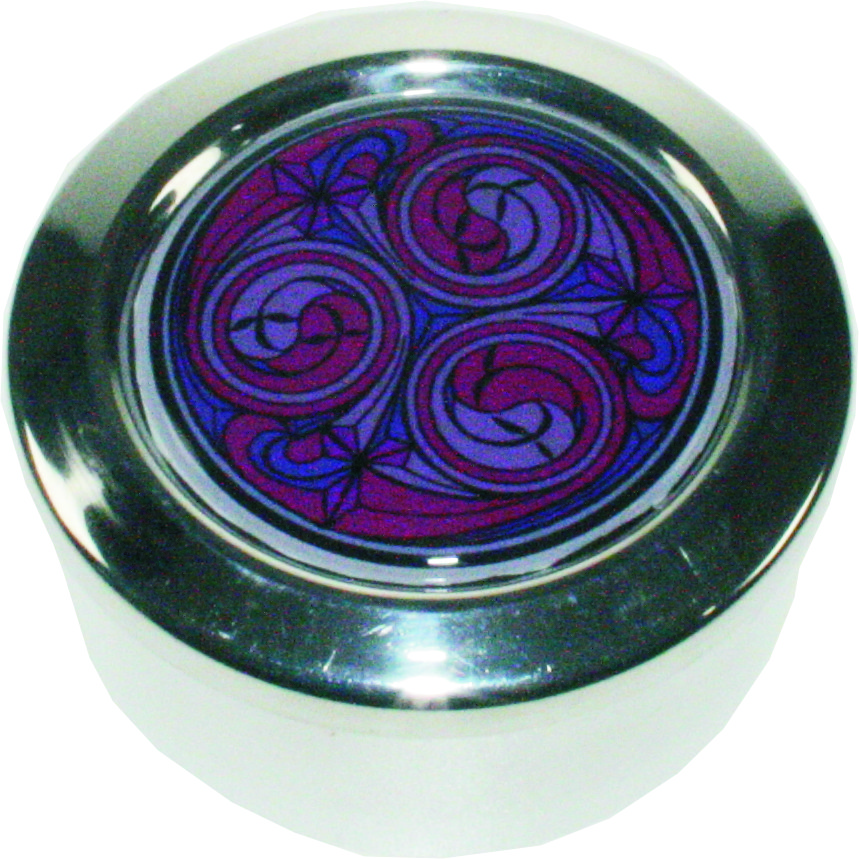 "Round Pewter Trinket Box with Red Kells Design 6.5cm (2.5"")"